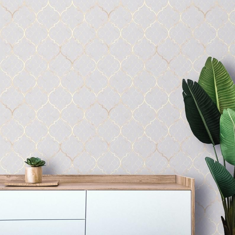 Removable Wallpaper Moroccan Peel And Stick Wallpaper Neutral Etsy In 2021 Removable Wallpaper Bedroom Accent Wall Removable Wallpaper