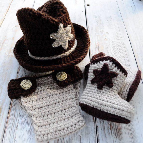 Cowboy Hat. Crochet Newborn photoprop. Crochet Cowboy boots   panties 1b522e62db6