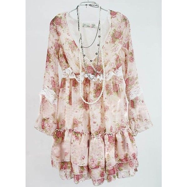 Graceful Lace Multilayer Long Sleeve Chiffon Dress Pink found on Polyvore