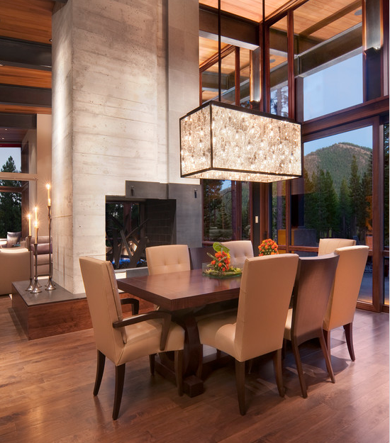 Grand Dining Space Light Fixture Fireplace High Ceilings Modern Dining Room Elegant Dining Room Farmhouse Dining Room