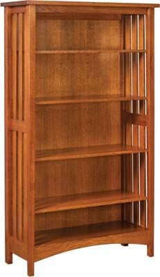Arts And Crafts Slat Bookcase Solid Wood Bookcase