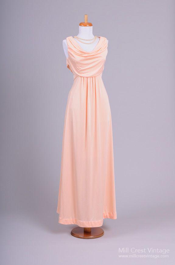 1970 Peach Vintage Evening Gown   Vintage Vault   Pinterest