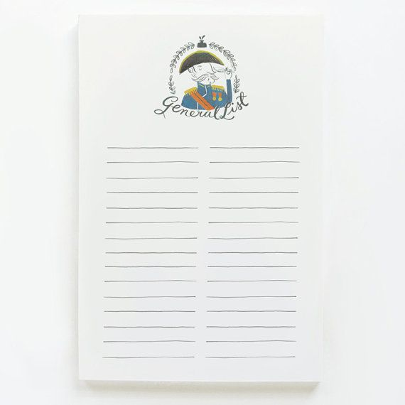 General List Notepad on Etsy, $12.28