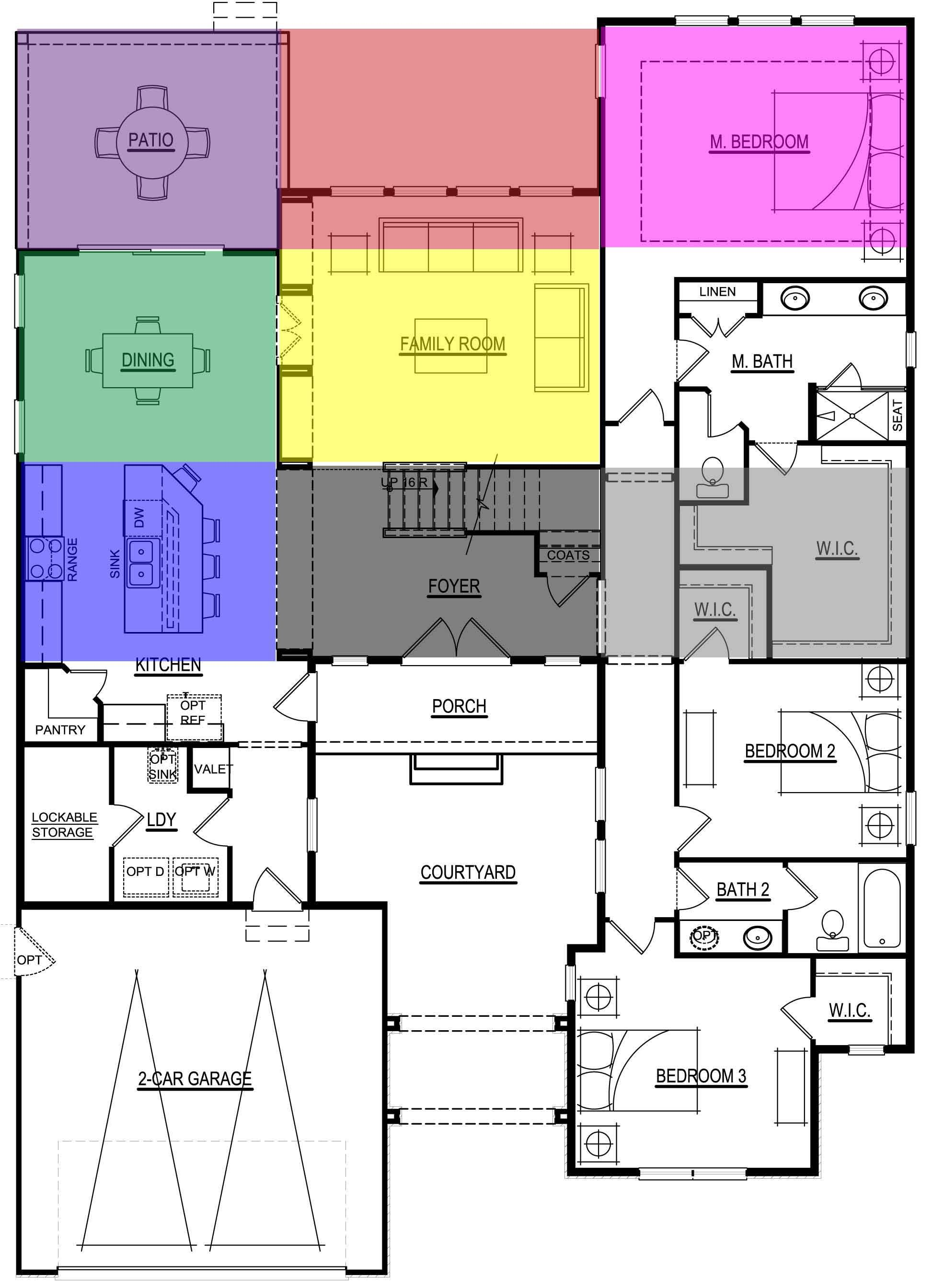 The feng shui bagua overlays onto the floor plan of a home for Wall homes floor plans