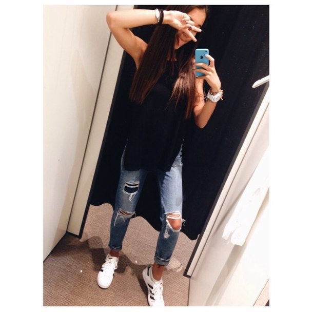 Adidas Black Fashion Outfit Site Model Style Superstar Tumblr Tumblr Girl Adidas ...