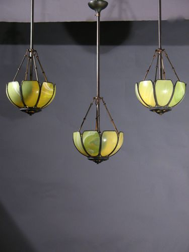 dome lighting fixtures. These Are Wonderful Vaseline Glass Leaded Vintage Inverted Dome Lighting Fixtures From The 1940s. 11\ A