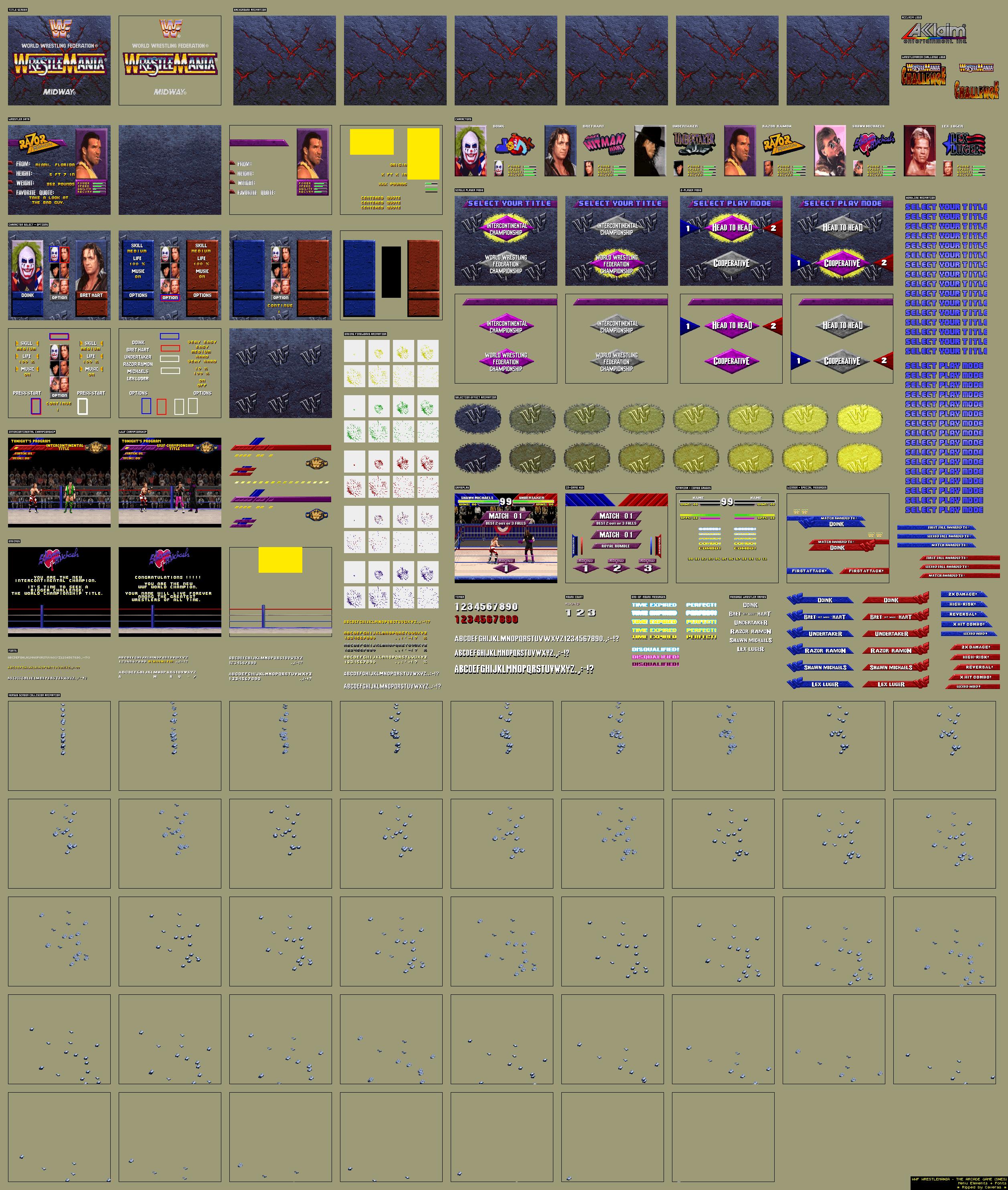 WWF WrestleMania: The Arcade Game - Menu Elements + Fonts | KOC