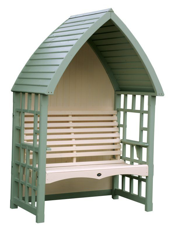 painted arbour with roof