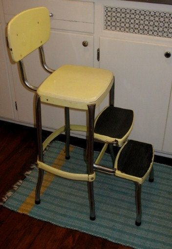 Vintage Retro Folding Step Stool Yellow With Chrome Industrial, Kitchen  Step Stool