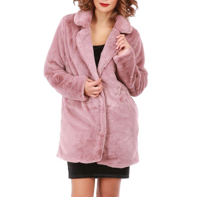 17351d49e85d Manteau rose en fourrure synthétique   Pinterest