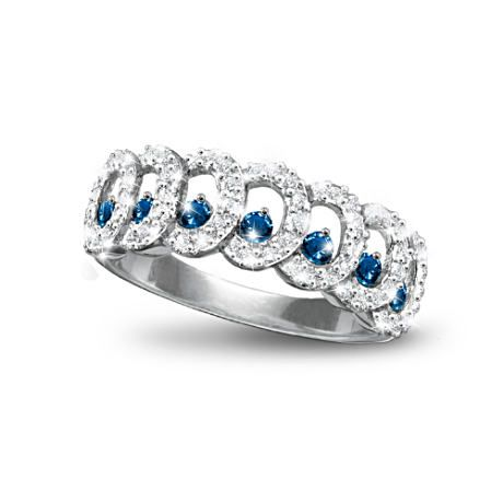 Quot Serenity Quot Eternity Ring With 6 Diamonds 7 Sapphires