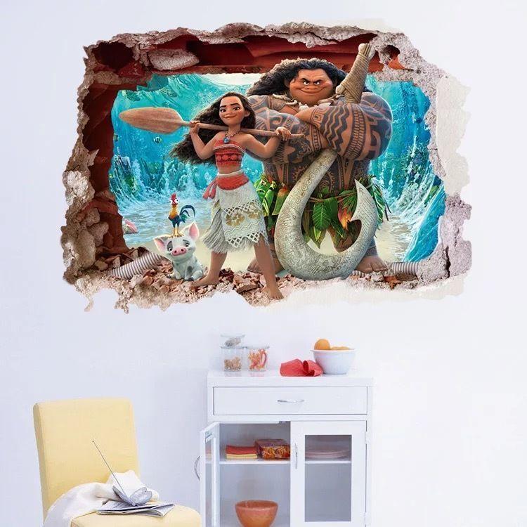 Moana Kids Smashed Wall Sticker Cartoon Wall Wall Decor