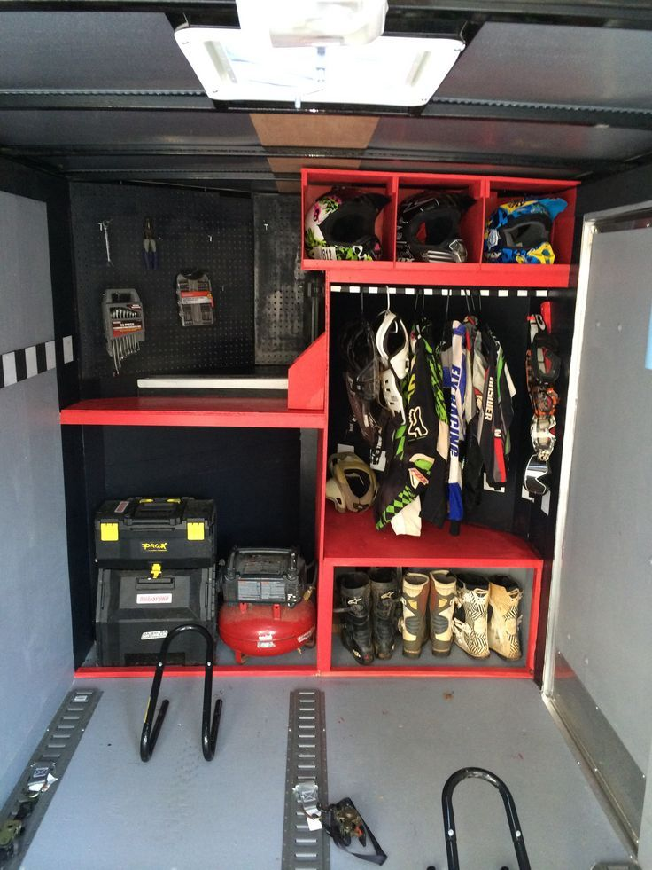 Diy enclosed motocross motorcycle trailer organization - Accesorios para garajes ...