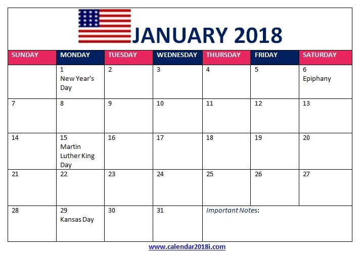 january 2018 calendar with holidays us MaxCalendars January 2018
