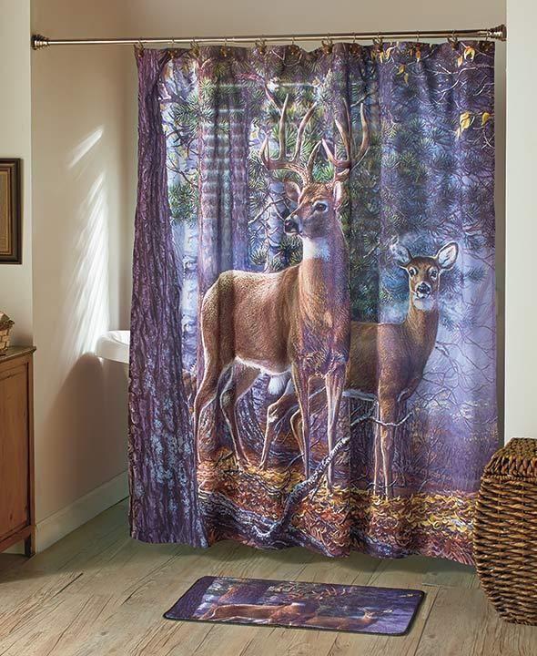 Wildlife Deer Bathroom Towel Shower Curtain Rug Hooks Accessories Complete Set Unbranded