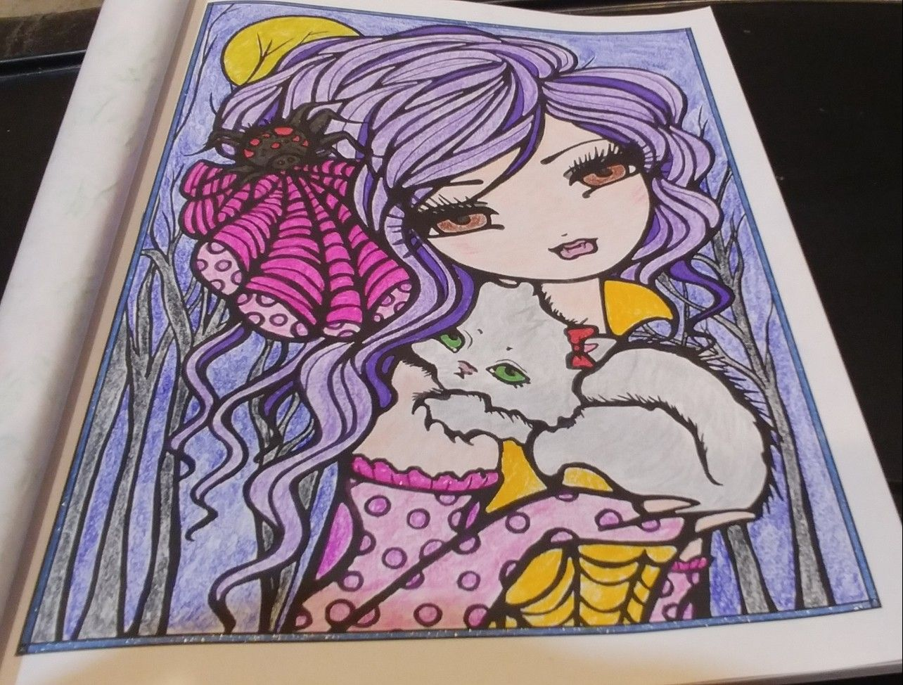 Finished Coloring Vixie Arteza Colored Pencils Gel Pens And Glitter Gel Pens From Mermaids Fairies Other Girls Of Whims In 2020 Coloring Books Gel Pens Arteza