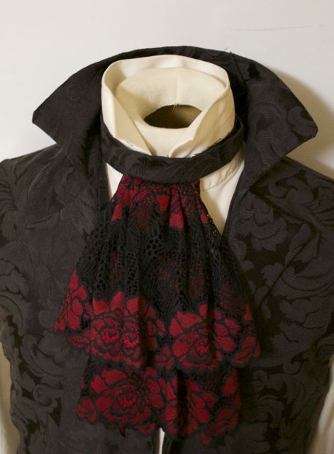 red and black lace shawl gothic stole steampunk goth wrap fancy dress Halloween