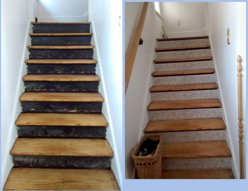 Stair Risers Wallpaper Border Stair Risers Basement Flooring Stairs