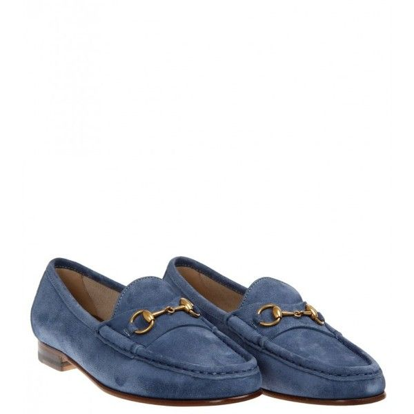 d8ab691d838 Gucci Light Blue Suede Anniversary 1953 Loafer (£340) ❤ liked on Polyvore  featuring