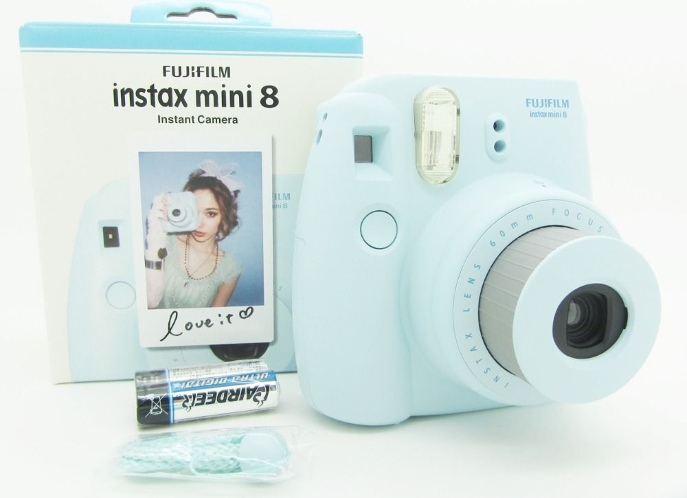 Free Shipping Fujifilm Instax Mini 8 Instant Film Photo Camera Yellow Blue White Black Pink Purple