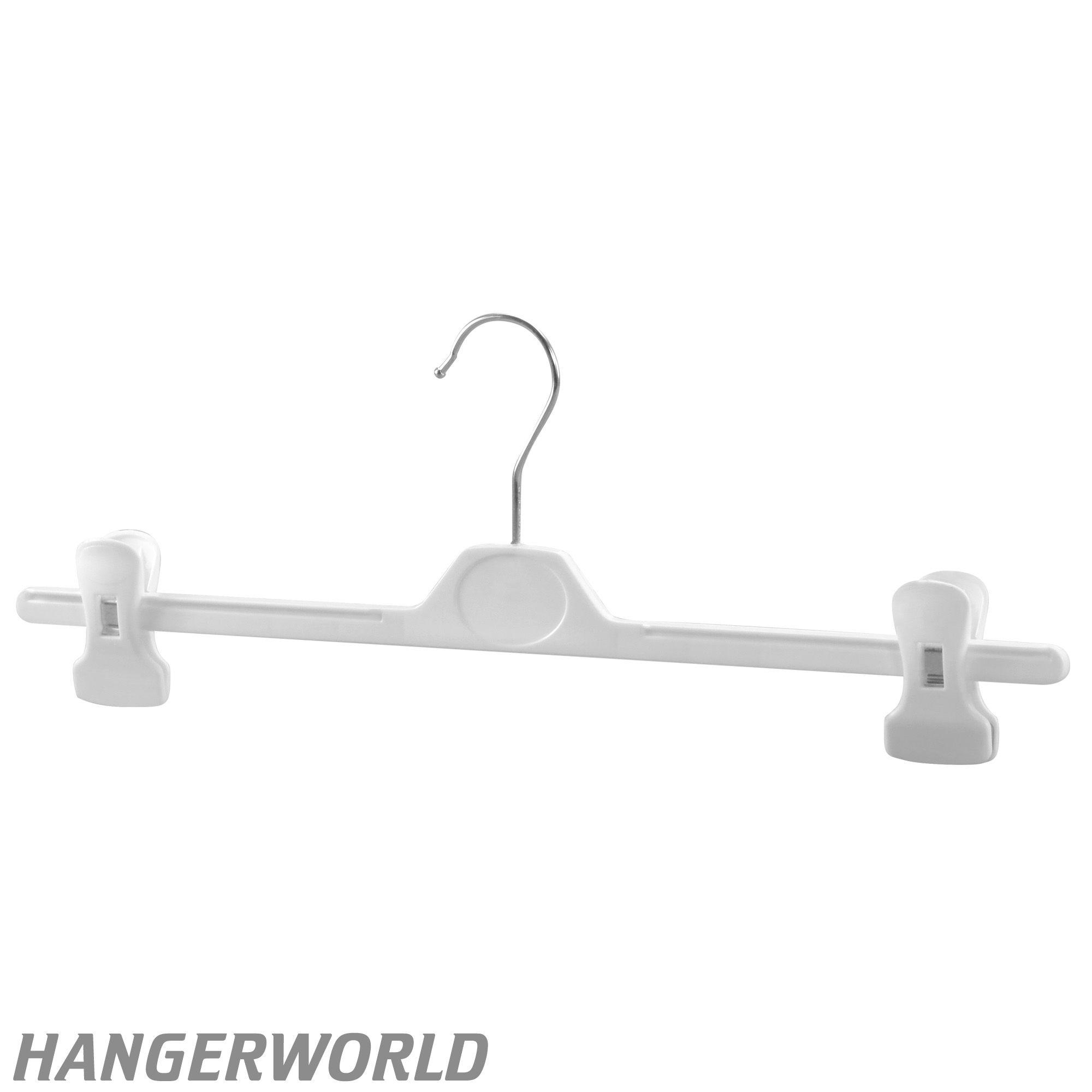 White Adjustable Clip Hangers 40cm Extra Wide Plastic Hangers