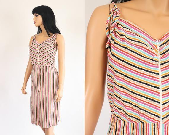 4d2810a4873 70s TERRY CLOTH Sundress Dress 1970s Dress STRIPED Chevron Beach Cover Up  Summer Bathing Suit Coveru