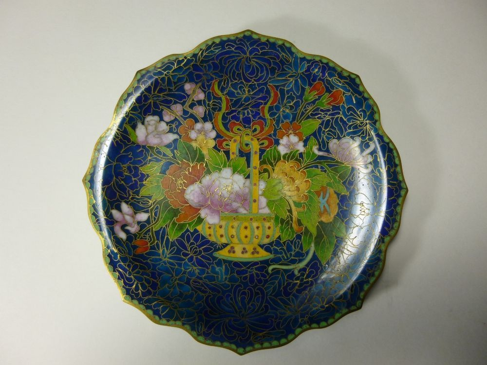 Antique Brass 8 points Beautiful Cloisonné Chinese Plate : chinese decorative plates - pezcame.com