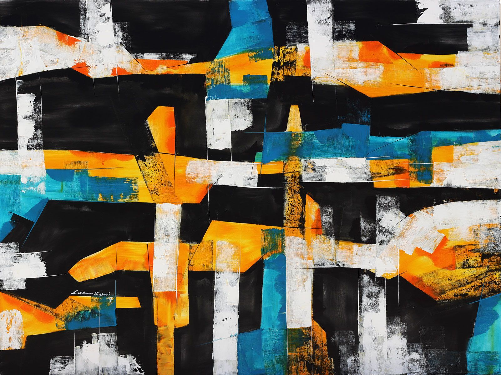 Shades Of Blues Orange Black And White Abstract Art