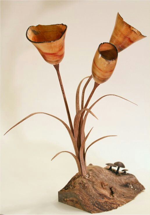 """The Elder Flower"" by Scott Hackler. Box elder, oak and walnut. 14"" tall. Woodturning sculpture"