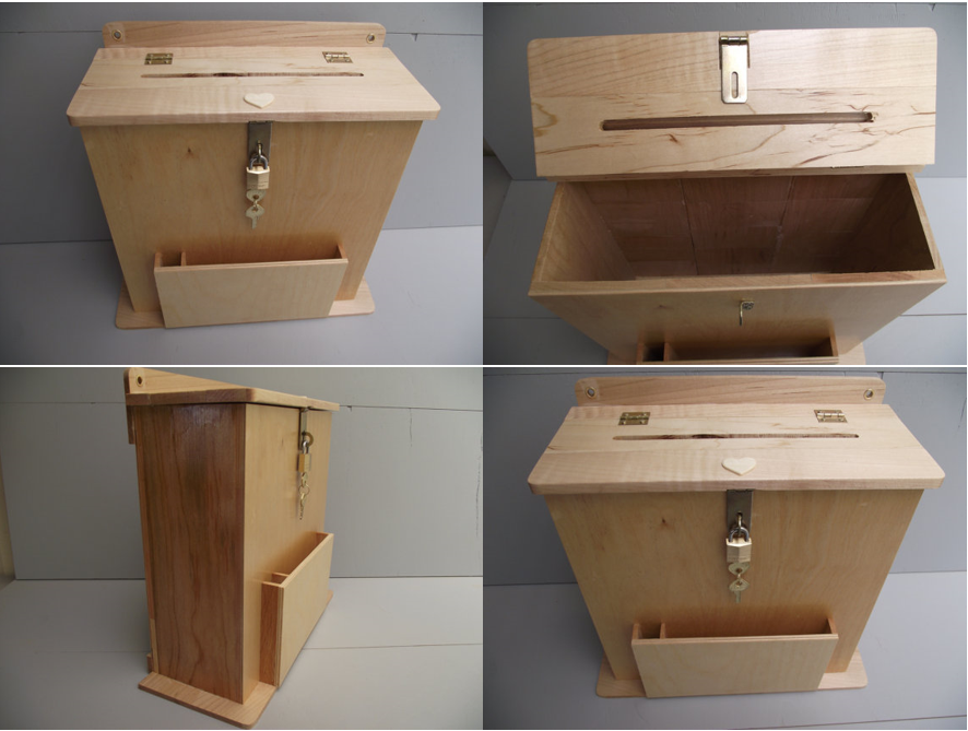 Large suggestion box or wedding card holder reclaimed wood for Lock box with slot for documents