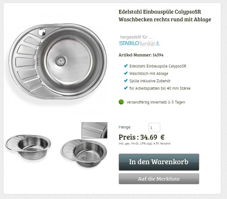 Edelstahl Waschbecken Spüle rechts Einbauspüle Spülbecken ...
