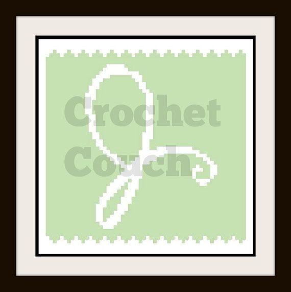 Letter J Baby Afghan, C2C Crochet Pattern, Written Row