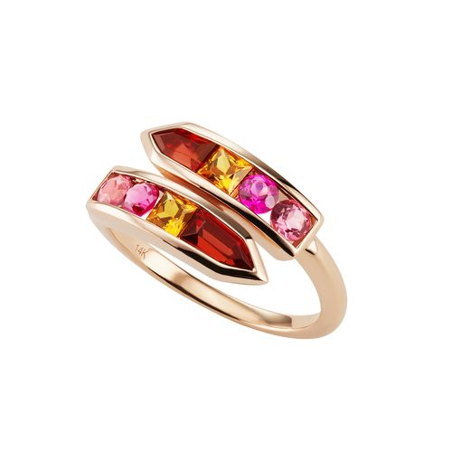 Jane Taylor Jewelry - Cirque Arrow Bypass Ring with garnet and tourmaline.