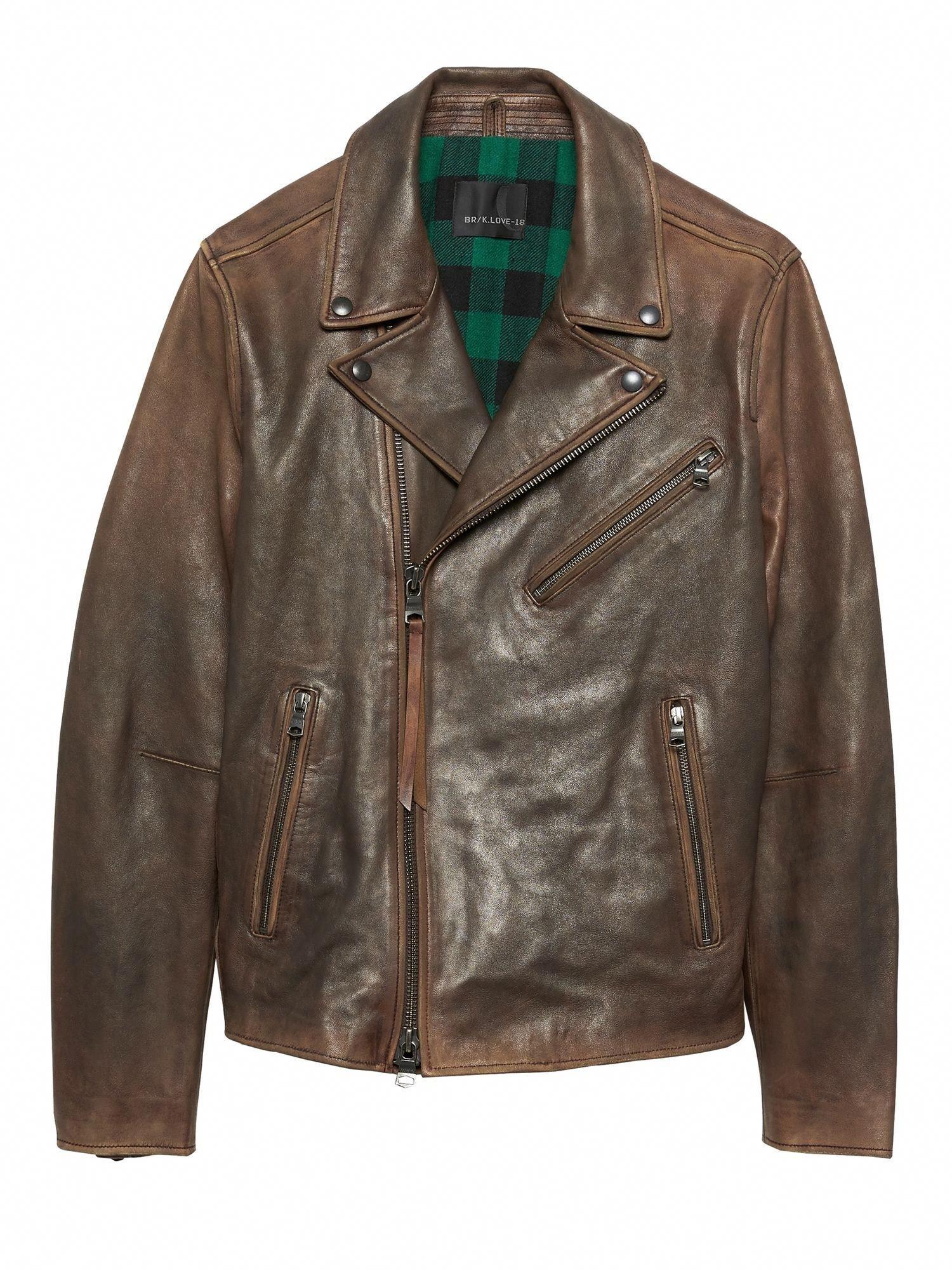 BR x Kevin Love Slim Leather Biker Jacket Banana