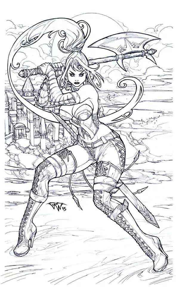 Warrior Princess Coloring Page Adult Coloring Pages Adult