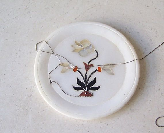 Vintage Trinket Dish Pin Dish Marble Dish Inlay Mother of