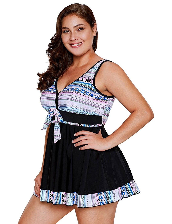 61f7d0e11d Women s Plus Size Two Pieces Tankini Swimdress Tribal Print Swimwear -  Light - CH187WM4KYC