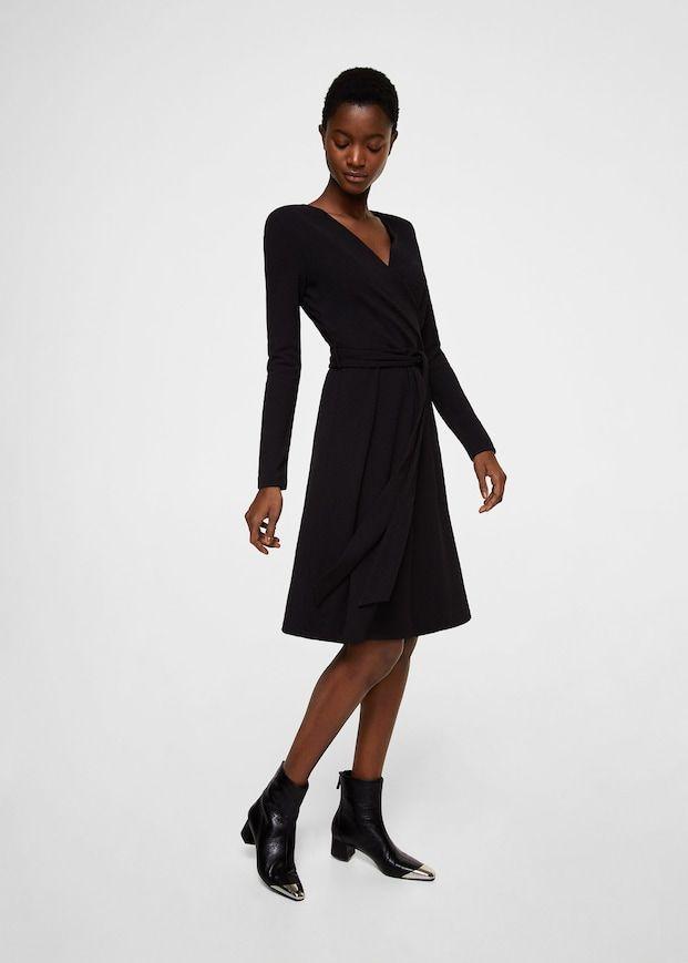 Langes Kleid im Wickelstil | Lange kleider, Kleider ...