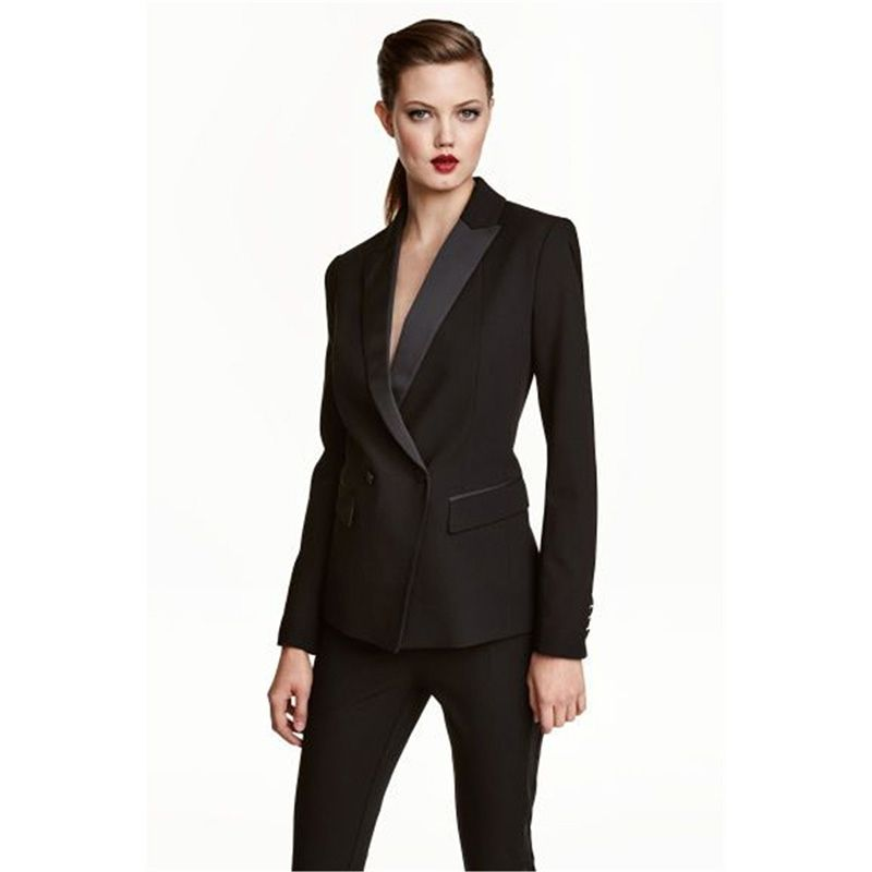4f9366f2f7951 Womens Business Work Pant Suits Set Blazer Formal Slim OL Elegant Double  Breasted Female Office Uniform Evening 2 Piece Set