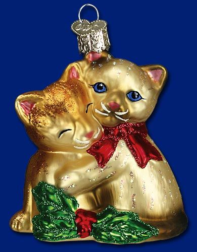 Kitty Love, 3 ¼ Old World Christmas Glass Ornaments Christmas