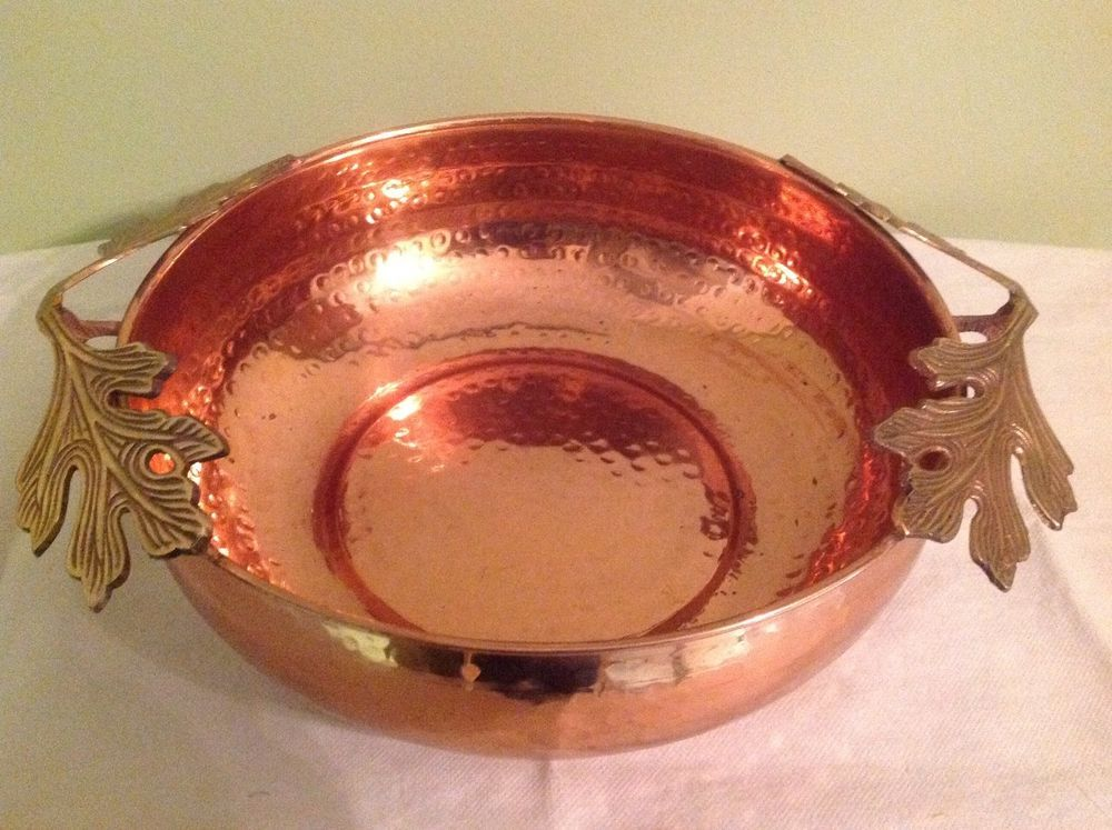 Large Hammered Copper Bowl With Br Grape Leaf Handles Great Center Piece