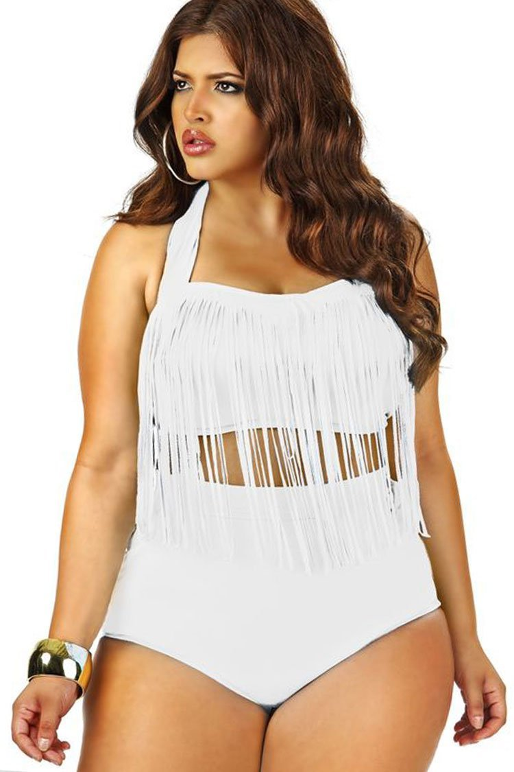 04408ff271 Plus Size Timeless Fringed Halter Bandeau Bikini Two Piece Swimsuit white /  2XL