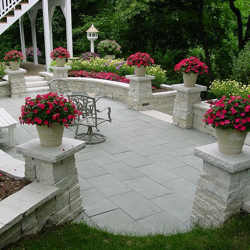 Stone Patio With Pillars For Planters