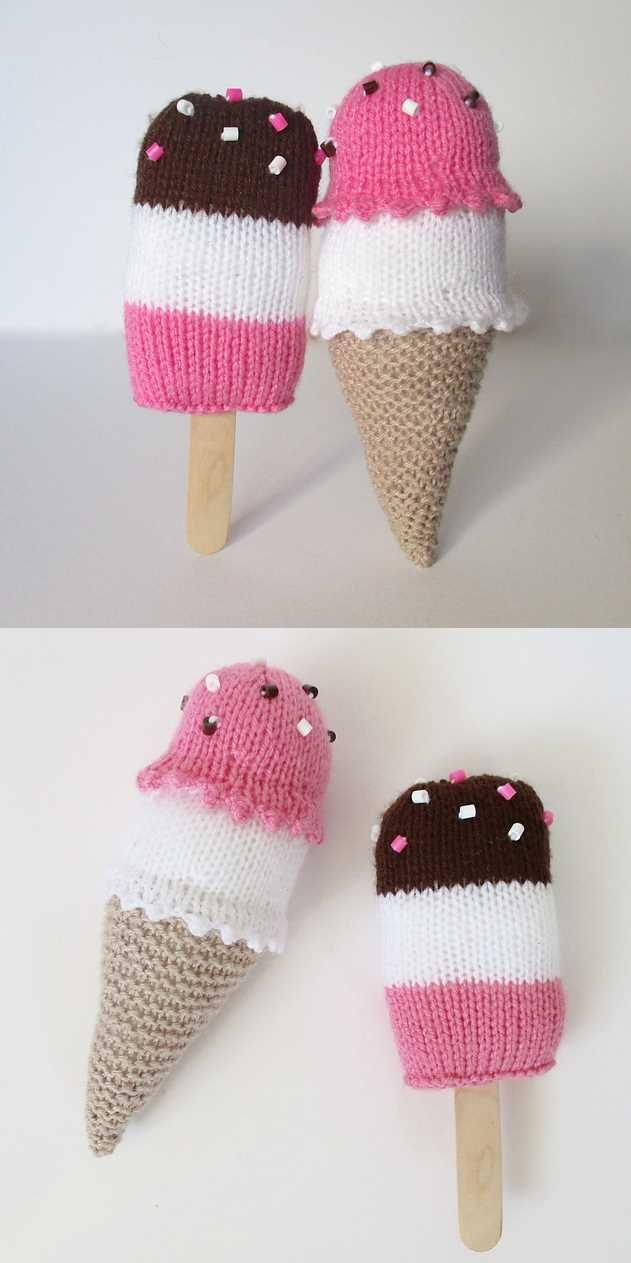 Free Knitting Pattern for Ice Cream Treats Toys | Arigumi ...