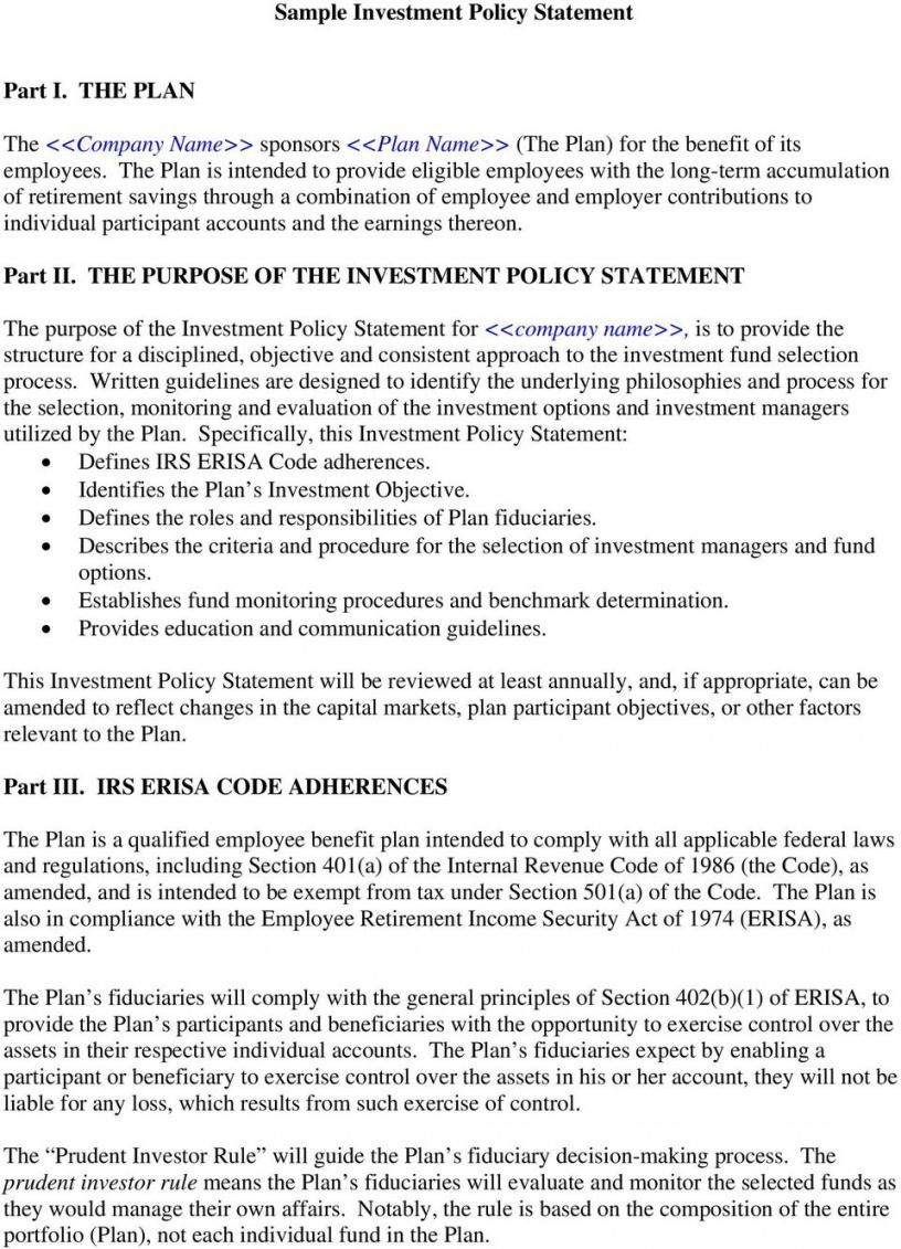 Browse Our Image Of Investment Policy Statement Template For Free Statement Template Investing Statement