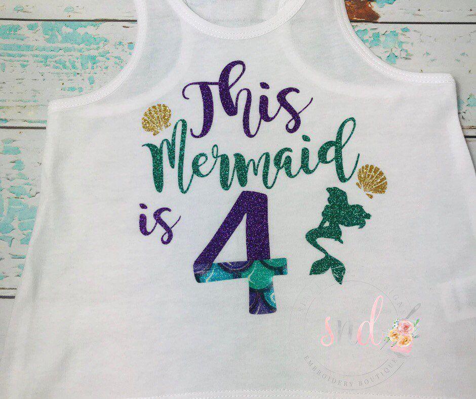 Mermaid Birthday shirt, This Mermaid is 4 Birthday tank
