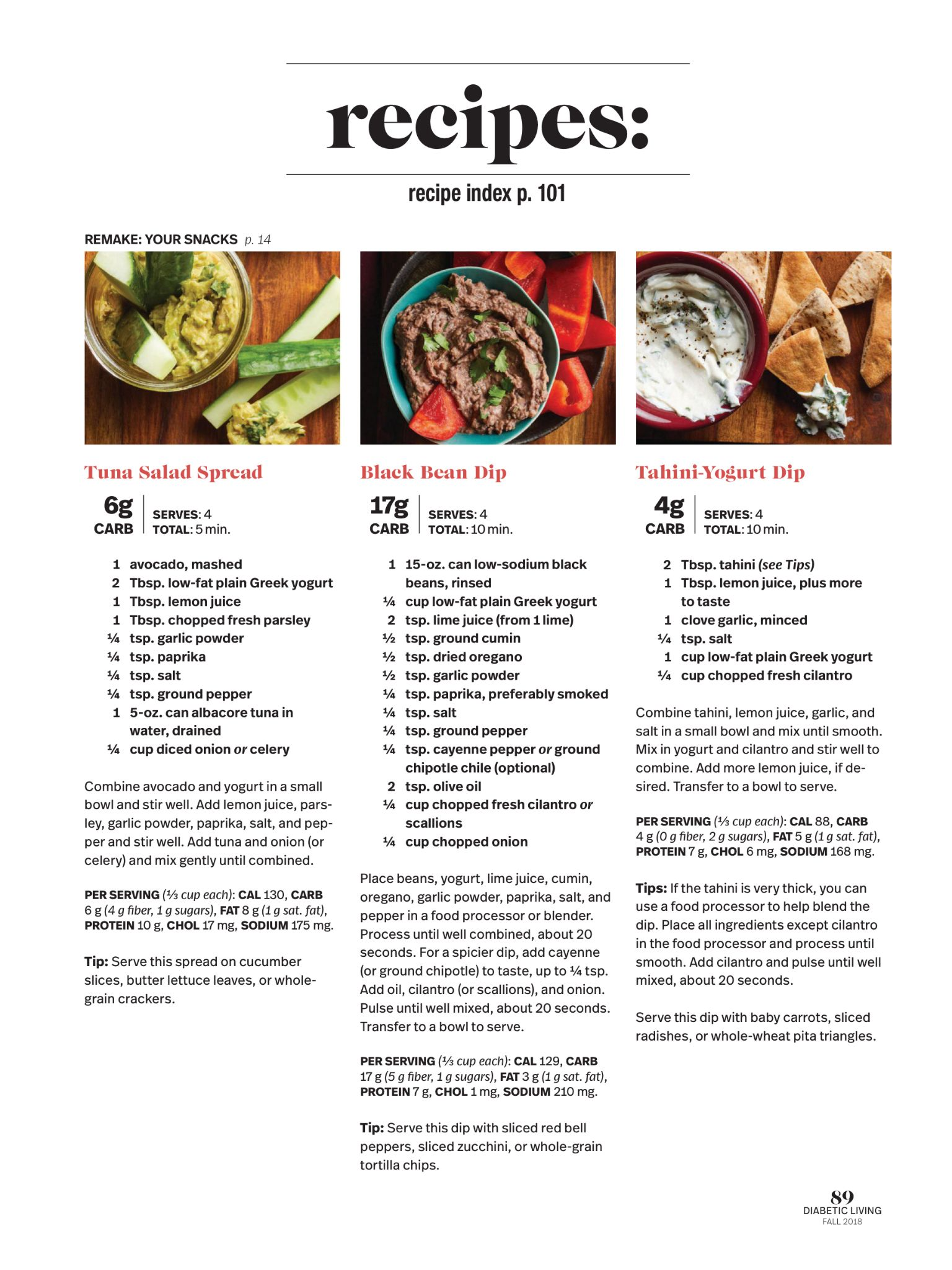 """Recipes"" from Diabetic Living Magazine, Fall 2018. Read"