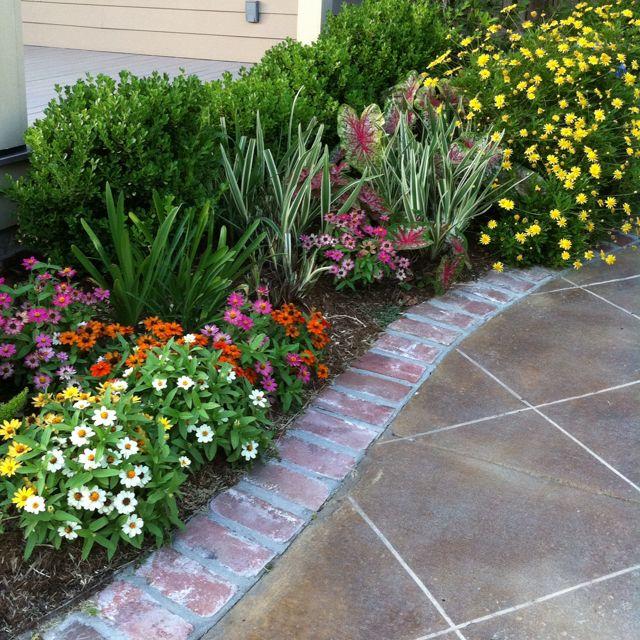 Pretty flowers and walkway