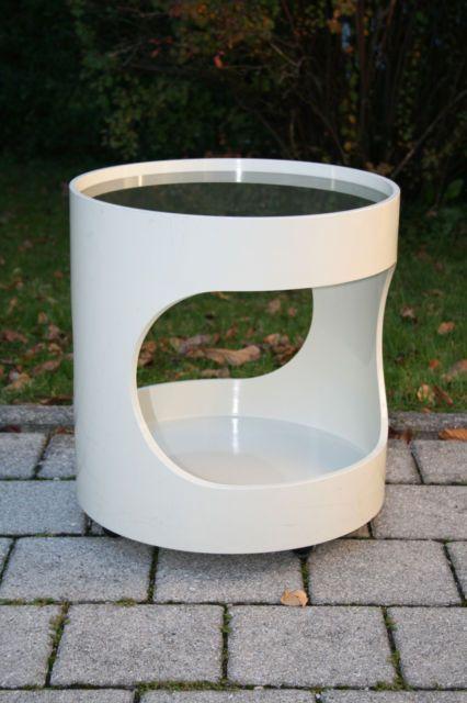Tisch Beistelltisch Wohl Luna Möbel Creme 70er 70s Space Age 60er