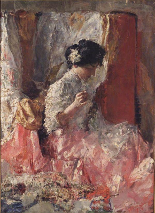 La Cucitrice (Antonio Mancini - 1914)